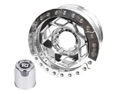 17×9 Inch Aluminum Beadlock Wheel 8 On 6.5 With 4.25 Inch Back Space Blue Segmented Ring Trail Gear