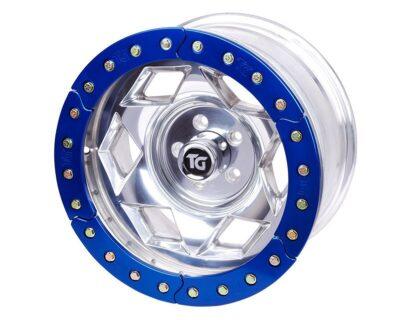 17×9 Inch Aluminum Beadlock Wheel 5 On 5.50 Inch W 3.75 Inch Back Space Blue Segmented Ring Trail Gear