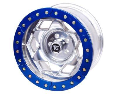 17×9 Inch Aluminum Beadlock Wheel 5 On 4.50 Inch W 3.75 Inch Back Space Blue Segmented Ring Trail Gear