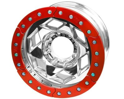 17×9 Inch Aluminum Beadlock Wheel 8 On 170MM With 4.25 Inch Back Space Red Segmented Ring Trail Gear